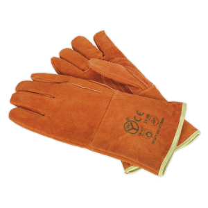 Sealey - Leather Welding Gauntlets Lined Heavy-Duty - Pair, SSP151