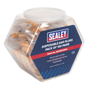 Sealey - Ear Plugs Disposable Pack of 100 Pairs, SSP18D100PK