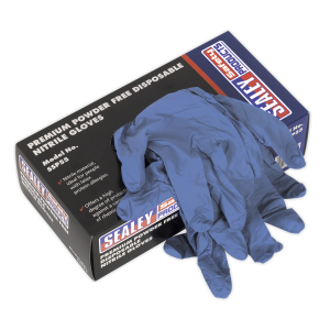 Sealey - Premium Powder Free Disposable Nitrile Gloves Large Pack of 100, SSP55L